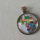 Glass cabachon necklace pendant Africa