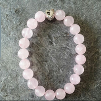 Rose Quartz and Tibetan Silver Bracelet