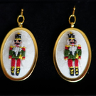 Earrings. Hand embroidered Nutcracker Christmas design earrings.