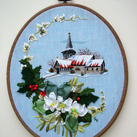 Hand embroidery winter scene. Embroidery art.