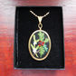 Hand Embroidered Necklace Pendant. Embroidered Holly and Mistletoe design.