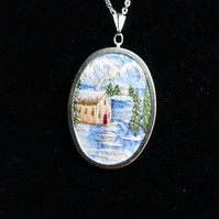 Hand Embroidered Pendant Necklace. An Embroidery of a Mountain Snow Scene.