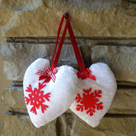 Christmas tree decoration. Set of two handmade hearts.