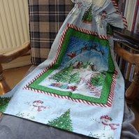 Large Christmas Sack for presents with fabric gift label.
