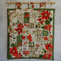 Advent Calendar. Quilted Poinsettia Design Advent Calendar.