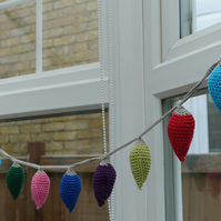 Handmade Crochet Fairy Lights Christmas Bunting.