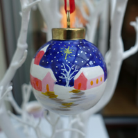 Hand painted Christmas bauble. Christmas tree decoration.