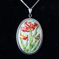 Hand Embroidery Pendant Necklace. An Embroidery of Parrot Tulips.