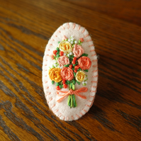 Hand Embroidery Brooch. Flower bouquet of embroidered roses.
