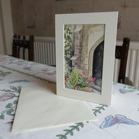 Original watercolour greetings card with mount. Card and gift in one.