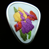 Hand Embroidery Brooch, Pin. Iris design in Silver Tone Brooch.