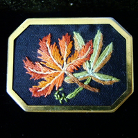 Brooch, Pin. Hand embroidery Autumn Leaves design in gold Tone Brooch.