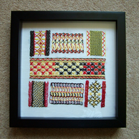 Embroidery Stitch  Sampler. Framed.