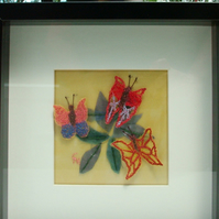Butterfly 3D Machine embroidery Art. Framed.