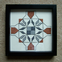 Cross Stitch Embroidery Sampler, Metallic Threads. Framed.