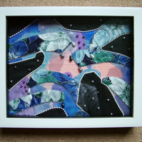 Abstract Applique Textile Art Sampler, Framed.