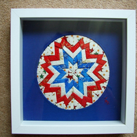 Patchwork Textile Art Sampler. Framed.