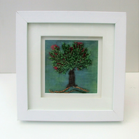 Free Style Machine Embroidery of a Tree in Blossom. Framed.
