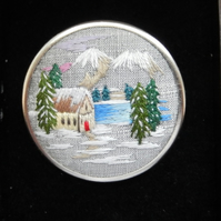 Made To Order Hand Embroidery Of A Winter Scene In A Brooch Setting.