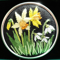 Made To Order Hand Embroidery Of Daffodils And Snowdrops In A Brooch Setting.