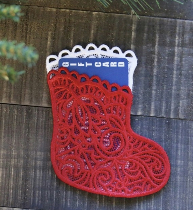 Christmas Gift Card Embroidered Lace Stocking Boot