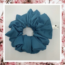 Lady Sarah large teal blue cotton hair scrunchies