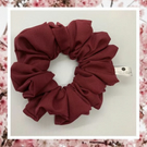 Lady Sarah large wine burgundy red cotton hair scrunchies