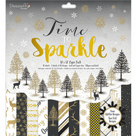 "Dovecraft Premium 'Time To Sparkle' 12""x 12"" FSC Papers 12 SHEETS"