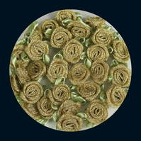 Tub of 48 Metallic Gold Fabric Roses with Light Green Leaves