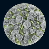 Tub of 48 Metallic Silver Fabric Roses with Light Green Leaves