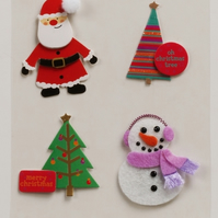 MIC Pack of Santa, Snowman & Trees Christmas Embellishments