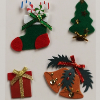 MIC Pack of Christmas Bells, Stocking, Tree & Present Embellishments