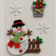 MIC Pack of Snowman and Snowflakes Christmas Embellishments