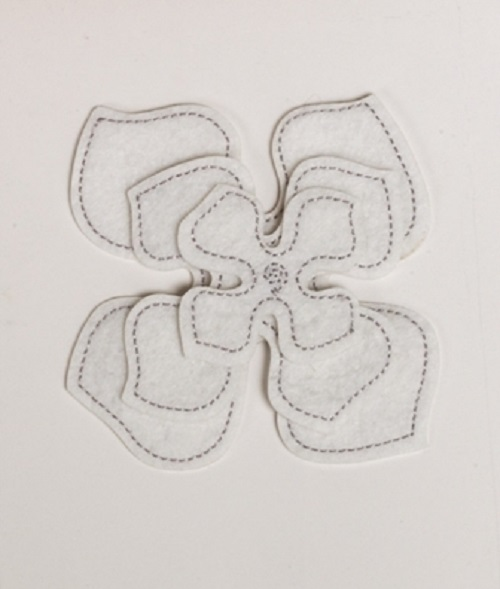 Pack of 3 White Felt Flower Embellishments - Large, Medium & Small