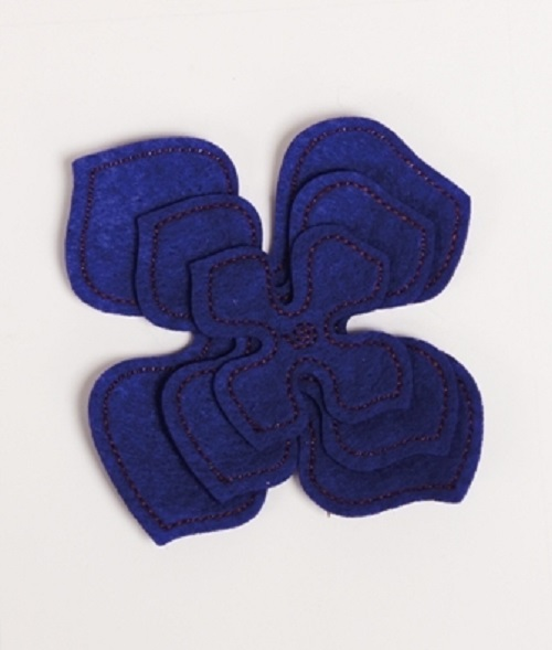 Pack of 3 Purple Felt Flower Embellishments - Large, Medium & Small