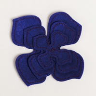 MIC Pack of 3 Purple Felt Flower Embellishments - Large, Medium & Small