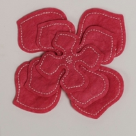 MIC Pack of 3 Cerise Pink Felt Flower Embellishments - Large, Medium & Small