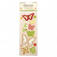 Dovecraft 'Garden Party' 3D Butterfly Stickers