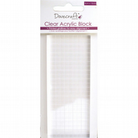 Dovecraft Rectangular 5cm x 12cm Clear Acrylic Stamping Block