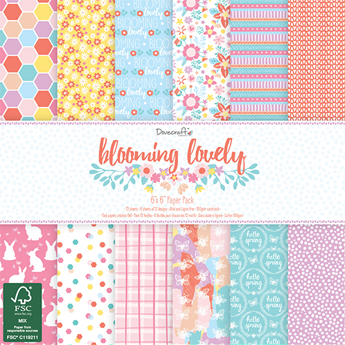 "Dovecraft 'Blooming Lovely' 6"" x 6"" FSC Paper Pack FULL PACK"