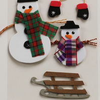 MIC Pack of Snowman and Sledge Christmas Embellishments