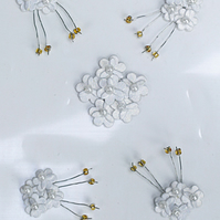 Pack of 5 White Mini Flower Embellishments
