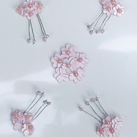Pack of 5 Light Pink Mini Flower Embellishments
