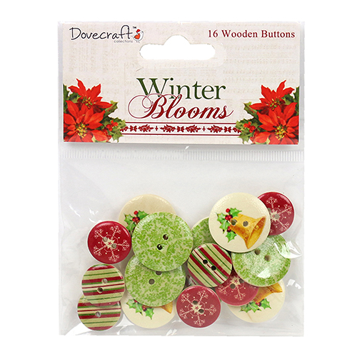 Dovecraft 'Winter Blooms' 16 Wooden Buttons