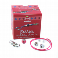 Pippin Kits 'Raspberry' Beaded Bag Charm Jewellery Kit