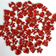 Pack of 80 Red Flower, Teardrop, Butterfly and Heart Gemstone Embellishments