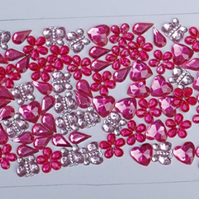 Pack of 80 Pink Flower, Teardrop, Butterfly and Heart Gemstone Embellishments