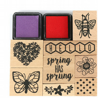 Dovecraft 'Blooming Lovely' Wooden Stamp Set