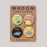 Cat Fact Badge Set of 4 - Cat Lovers Gift