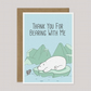Thank You for Bearing with Me - Funny Thank You Card - A5 Size - Polar Bear&Fish